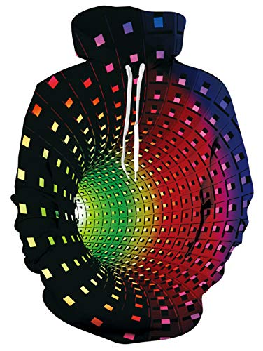 TUONROAD Herren Hoodie Strudel 3D Druck Kapuzenpullover Grafik Langarm Sweatshirt Pullover Top Jumper XL