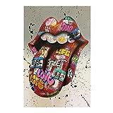 UIGJIOG Imágenes de Lienzo de Graffiti Arte de la Pared Cuadros Lengua Arte Callejero Carteles Abstractos Impresiones Pinturas Modernas Decoración del hogar,60x80cm no Frame