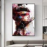 N / A Abstrakte Mädchen Wandkunst Leinwanddrucke Sexy Lippen Pop Art Wandmalereien Kunstdrucke Moderne Wohnwand Dekorative Bilder Cuadros 50x75 cm Kein Rahmen