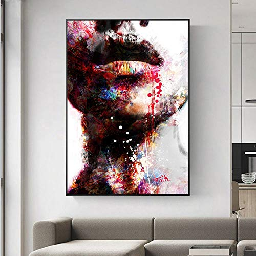 jzxjzx Abstraktes Mädchen Wandbilder Leinwandbilder Lippen Pop Art Wandbilder Kunstdrucke Moderne Wohnwände Dekorative Bilder Cuadros