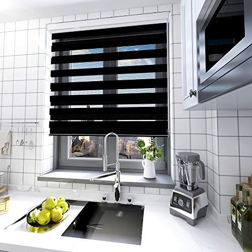 interGo Doppelrollo Klemmfix Ohne Bohren, B80cm x H150cm Duo Rollo mit Aluminium Kassette, Seitenzugrollo Easyfix für Fenster & Türen - Anthrazit