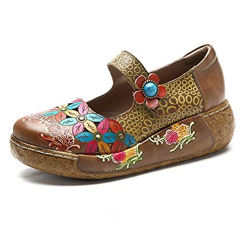 Socofy Damen Pantoletten, Sandalen Slip-Ons Sommer Leder Pantoffel Vintage Slipper Clogs High-Top Blume Espadrilles Schuhe Loafer Hausschuhe (36 EU, Braun_a)