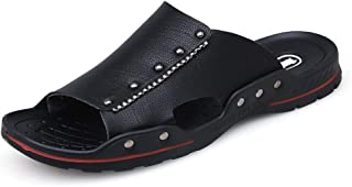Men Sandals Summer Fashion Beach Slippers for Men Slip On Style Rivets Open Toe Shoes Microfiber Leather Comfortable