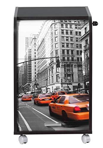Simmob IBOX070NO510 New York Meuble Informatique de Bureau Panneau de Bois/Mélamine Noir 45 x 41,4 x 69,2 cm