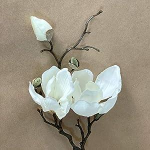 Cream Magnolia Branch – 2 Flowers, 3 Buds – Artificial Flower, Silk Flower