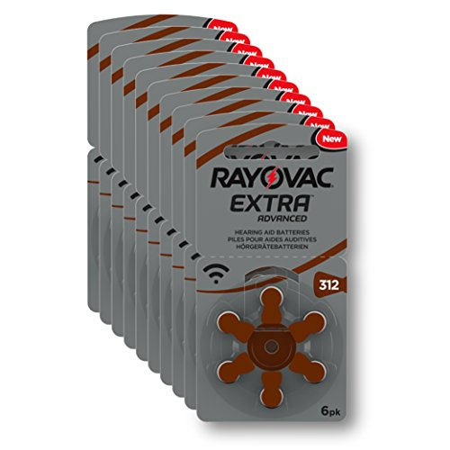 Rayovac - Piles Extra Advanced zinc-air pour aides auditives, code couleur brun, taille 312, lot de 60 piles