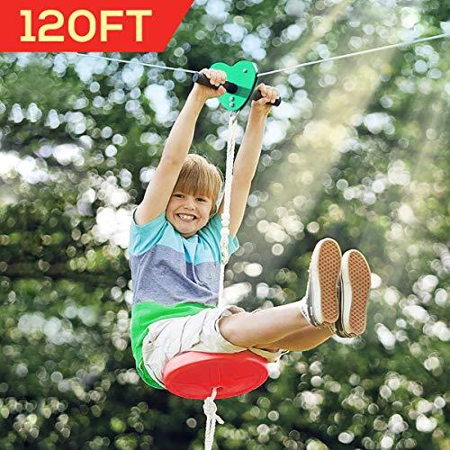 Hi-Na Zip Line Kit 80ft 100ft 120ft Zipline Kits for Backyard Kids Play Set Zipline with Seat Handles Ziplines for Backyards Zipline 100 Foot Zip Line Kit Zip Line Play Set Zipline for Kids (120ft)