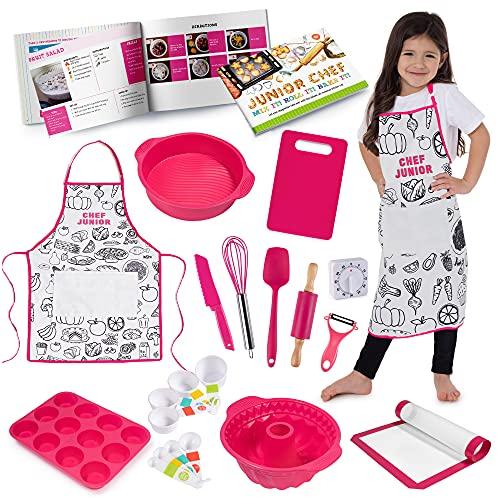 Born Toys Kids Cooking & Kids Baking Set - Kids Chef Set Includes Colorable Kids Cooking Aprons, Easy, Fun & Safe Recipe Book, & Real Kids Kitchen Utensils Like Kids Safe Knife & Timer for Ages 5-10