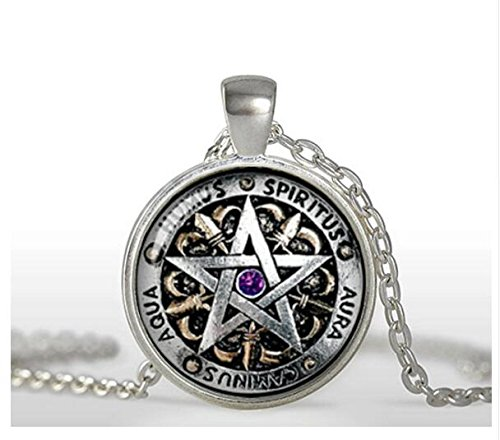 Wiccan Protection Necklace black magick Pagan Pentagram Jewelry Glass Dome Pendant Necklace (1)