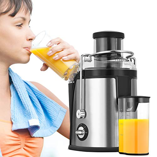 TELAM Juicer Masticating 3 Speed, 800 W Juicer Machine,75 mm Feed Chute Juice Extractor Easy Clean, Higher Juice Yield,Stainless Steel Juicer with Pulse Function, BPA-Free