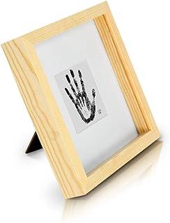 comprar comparacion Marco de Fotos tipo Caja de 23 x 23 cm con Paspartú para foto de 10 x 10 cm o objeto de 2,5 cm de grosor - Madera de Pino ...