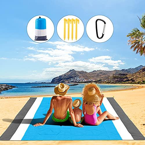 TAWAPYZ Alfombra de Playa, 210*200cm Manta de Picnic Impermeable Anti Arena con 4 Estaca Fijo...