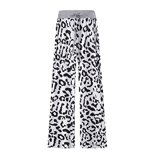 Hhckhxww Leopardenmuster Komfortable Casual Stretch Kordelzug Pyjamahose Wide Leg Pants Women