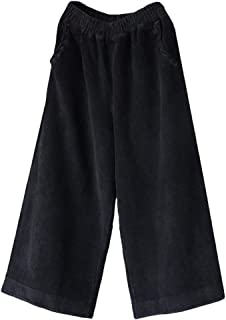 Women's Casual Wide Leg Pants Elastic Waist Cotton Cropped Corduroy Trousers with Pockets Fit US 4-16