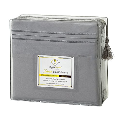 Clara Clark Premier 1800 Collection Deluxe Microfiber Three-Line Bed Sheet Set, King Size, Silver Light Gray
