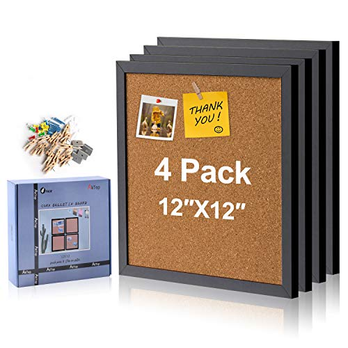 AkTop Cork Board Bulletin Board 12x12, Black Framed Corkboard 4 Pack, Small Square Pin Board for Wall, Mini Thick Cork Tiles with 16 Push Pin Wood Clips for School, Home & Office