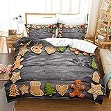 JXKEF Juego de funda de edredón y fundas de almohada de fácil cuidado, muy suave, cómoda y transpirable, funda de almohada de Año Nuevo, 100% poliéster, tamaño King
