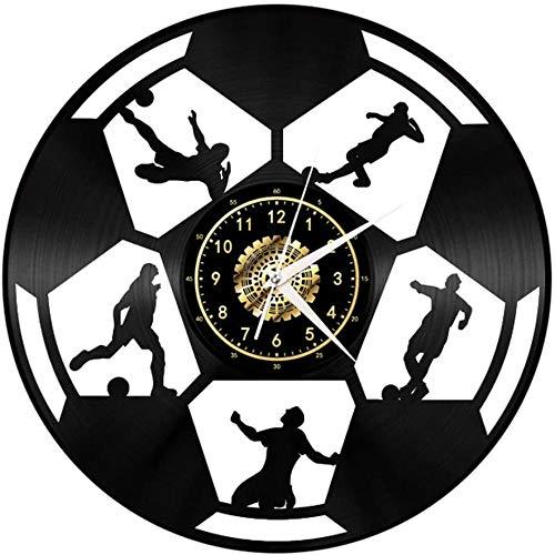 Deportes De Pelota De Fútbol Baloncesto Del Ping-Pong De La Vendimia Negro Del Disco De Vinilo Del Reloj De Pared Arte De Pared 3D Diseño De Oficinas Moderno Bar Sala De Decoración Del Hogar Regalo F