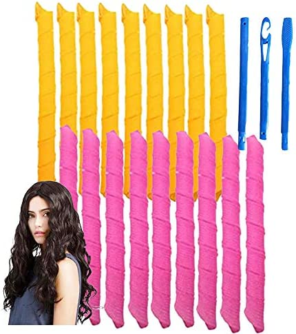 Magic Hair Curlers Spiral Curls Styling Kit 18 No Heat Hair Curlers and 1 Styling Hooks for product image