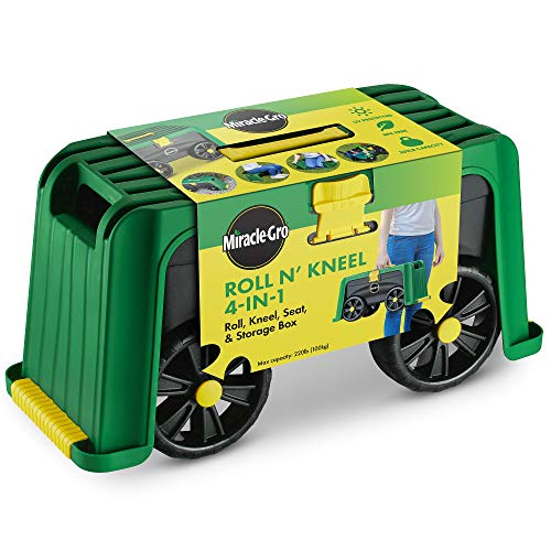 Miracle-Gro 4-in-1 Garden Stool – Multi-Use Garden Scooter with Seat – Rolling Cart with Storage Bin – Padded Kneeler and Tool Storage - Accessible Gardening for All Ages