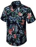HISDERN Uomo Funky Hawaiana Camicie a Foglia Floreale Manica Corta Tasca Frontale Vacanze estive Aloha Stampato Spiaggia Casual Blu Navy Rosa Camicia a Fiori Hawaii