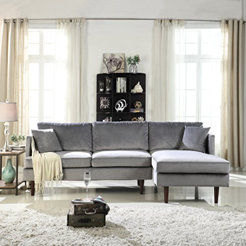 Mid-Century Modern Brush Microfiber Sectional Sofa, L-Shape Couch with Extra Wide Chaise Lounge (Grey)