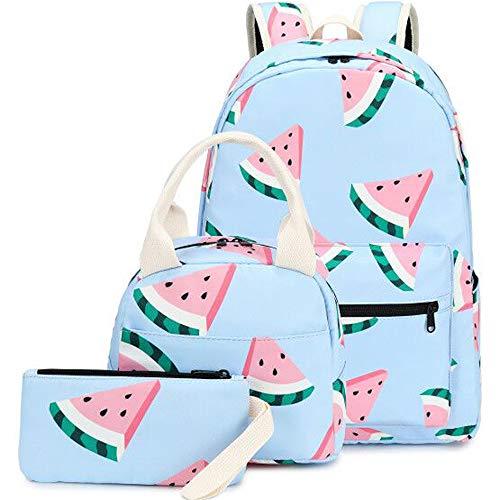 CAMTOP Backpack for Teen Girls Kids School Bookbag Lunch Box Set (Y0080-3/Light Blue Watermelon)