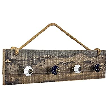 Millenium Art American Art Décor Rustic Wood Hanging Jewelry Necklace Organizer with Hooks