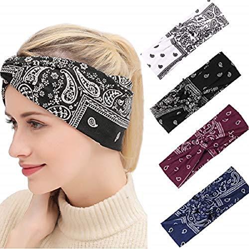 K-Elewon 4 Pack Women Elastic Turban Criss Cross Head Wrap Sports yoga Headband Twisted Hair Band SK09-01