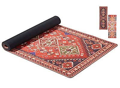 Ananda Yoga Mat | Natural Rubber Eco-Friendly Exercise Mat, Non-Slip Sweat Absorbing Suede Top 2-in-1 Mat&Towel, Unique Carpet Design Print with Carrying-Strap for All Types of Yoga & Floor Exercise