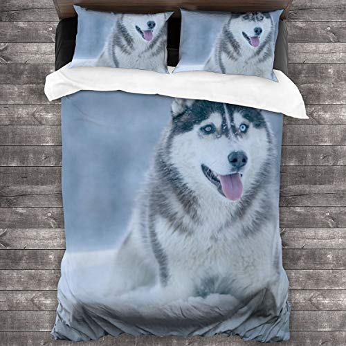 3-Piece Bedding Set A Husky Dog Lay On The Snow 100% Natural Polyester,1 Duvet Cover And 2 Pillowcases,Ultra Soft And Breathable