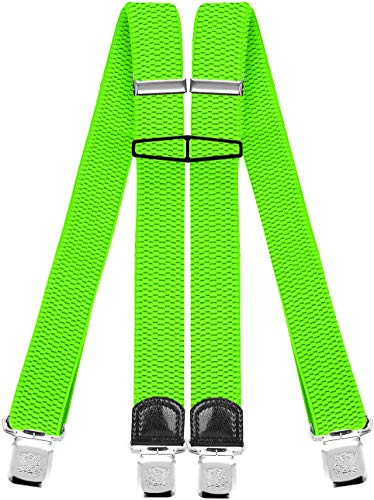 Decalen Hosenträger für Herren mit 4 Starken Clips X Form Lang Eine Größe Passt Alle Verschiedenen Farben, Grünes Neon, Lange