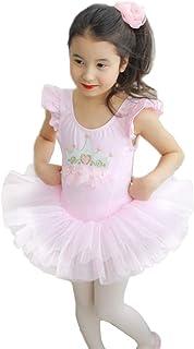 OBEEII Toddler Kid Girl Ballerina Tutu Dress Gymnastics Skirted Leotard Dancewear Costume Crown Embroidered Flower