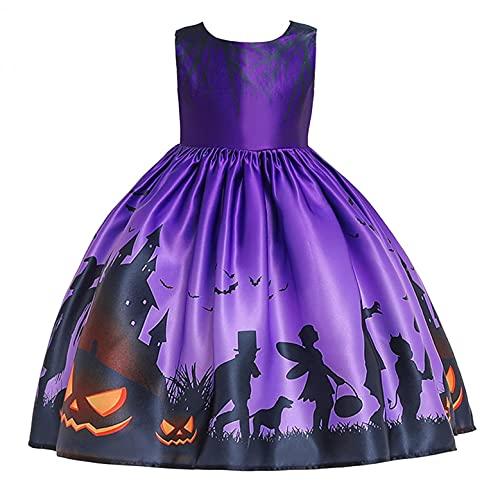 YWLINK NiOs Vestido Ceremonial Halloween NiA Cosplay Princesa Vestido Disfraz De Bruja para NiOs, Disfraz De Halloween,Vestido Estampado Vestido De Encaje con Estampado De Calaveras