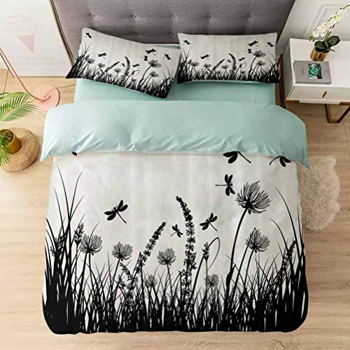 Aishare Store Bedding Duvet Cover Set King, Grass Bush Meadow Silhouette with Dragonflies Flying Spring, Decorative 3 Piece Bedding Set with 2 Pillow Shams