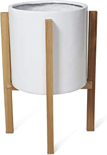 Boho Traders Concrete Planter on Wooden Oak Stand Round Concrete Planter on Wooden Oak Stand, Medium, White