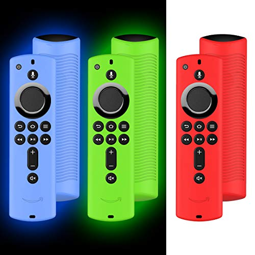 3Pack Case for Firetv Remote,Firestick Remote Cover,Silicone Cover Case for TV Firestick 4K / TV 2nd Gen (3rd Gen) Remote Control -Light Weight/Anti Slip/Shock Proof- Red, Glow Green and Glow Blue