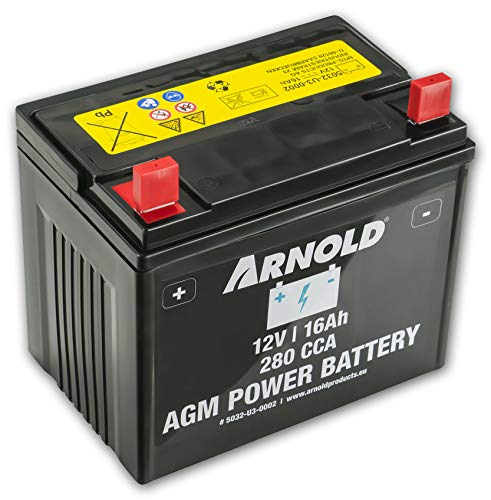 Arnold AGM Starterbatterie 12V 16Ah, 280 CCA für Rasentraktoren 5032-U3-0002, 12 V, schwarz