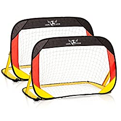 GOODS + GADGETS Goal Star Pop-Up Soccer Goal Germany 120x80x80cm; Automatic soccer goal wall self-righting; foldable with carrying case; Set of 2