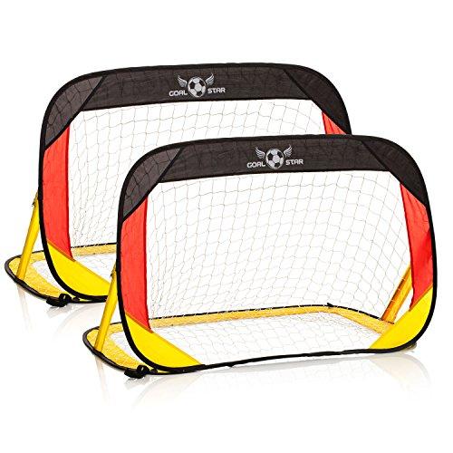 Goal Star porta da calcio Pop-Up, Germania, 120x 80x 80cm; automatica, autoportante, pieghevole, con borsa per il trasporto, Set da 2