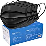 Black Disposable Face Masks - 50 Pack, Black -Soft on Skin - 3 Ply Protectors with Elastic Earloops (Black 50 PCS)