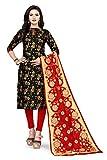 Rajnandini Negro Banarasi seda Jaccquard tejido sin costura Salwar traje material