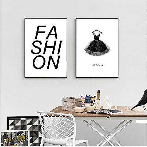 Eenvoudige letter van mode, poster en printen, zwarte jurk, schilderij op canvas, Scandinavische stijl, decoratie voor thuis, woonkamer, zonder lijst, 50 x 70 cm x 2 cm