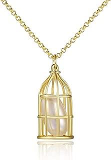 GAOQQ 925 Silver Fashion Necklaces Cage Shaped Pendant Creative Personality Neck Ornament