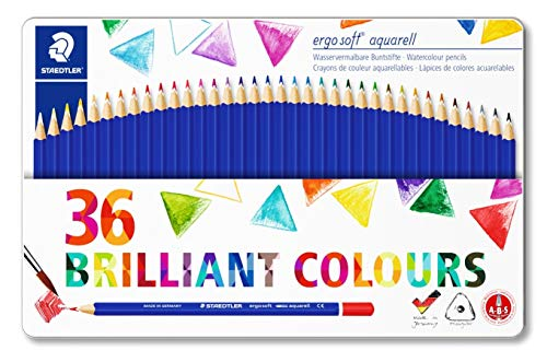 STAEDTLER 156 M36 Ergosoft Triangular Colouring Pencil, Assorted Colours, Tin of 36