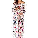 Vestido de Maternidad con Hombros Descubiertos Vestido de Maternidad de Manga Larga Accesorios de fotografía Sesión de Fotos Ropa Maxi/Boda/Cumpleaños/Fiestas/Belleza Vestido de mamá Rosa M