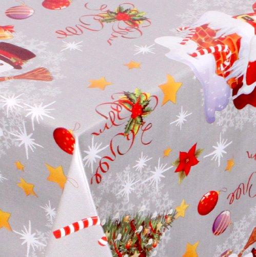 WACHSTUCH Tischdecken abwischbar Meterware, Größe wählbar, 100x140 cm, Glatt Weihnachten Schneemann, Silber