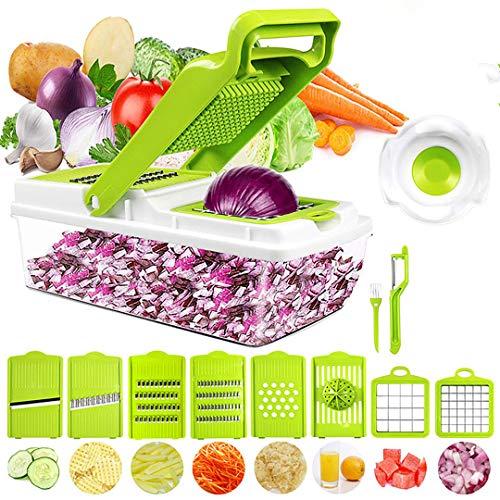 OLIYA Picadora de verduras, picadora de verduras duradera, recipiente grande seguro para alimentos, 8 cuchillas y exprimidor de limón, 12 en 1, picadora de picadora, picadora de...