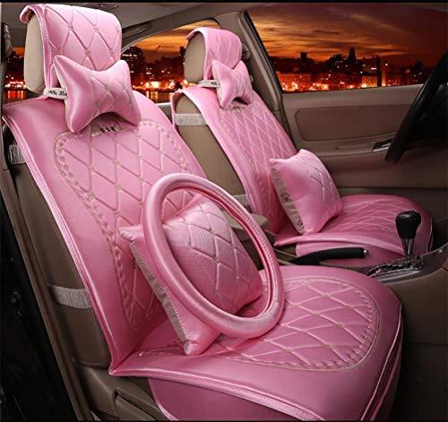 KBZW Auto Stoelhoezen Set, Universele Auto Stoel Kussen voor Vrouwen Europese Stijl Hoge Kwaliteit Goud Fluweel Geborduurd Kussen Vier roze