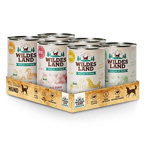 Wildes Land | Nassfutter für Hunde | Bio Mix | Getreidefrei & Hypoallergen | Extra hoher Fleischanteil von 60{3d56bf4ae586bef897627b6fa90b1d00ed6cd69fffdae229646e5d362e672021} | 100{3d56bf4ae586bef897627b6fa90b1d00ed6cd69fffdae229646e5d362e672021} zertifizierte Bio-Zutaten | Beste Akzeptanz und Verträglichkeit